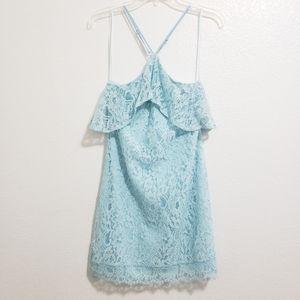 Francesca's Baby Blue Lace Sleeveless Mini Dress